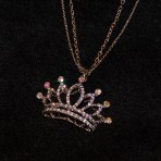 Pretty 7pt Rhinestone Crown Necklace