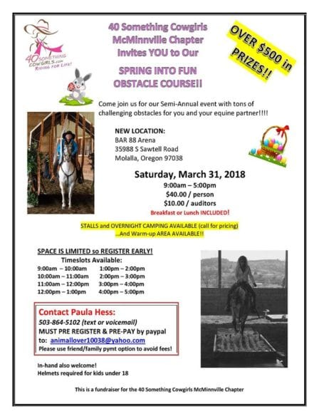 McMinnville, OR ~ SPRING INTO FUN Obstacle Course!! @ Bar 88 Arena | Molalla | Oregon | United States