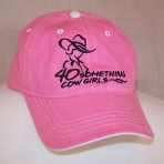 Pink/White Contrast Stitch Ball Cap, Black Logo