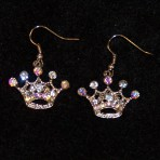 Iridescent Rhinestone 5pt Crown Earrings