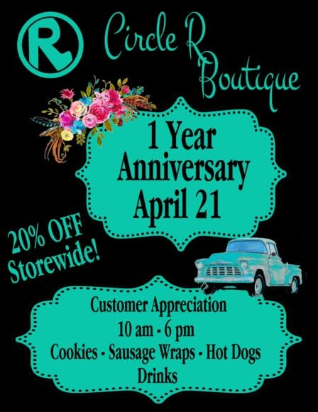 Breckenridge Tx-1 Year Anniversary at Circle R Boutique @ Circle R Boutique | Cross Plains | Texas | United States