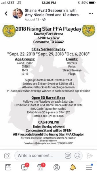 Breckenridge Tx-Playday @ Cowboy Park Arena | Comanche | Texas | United States