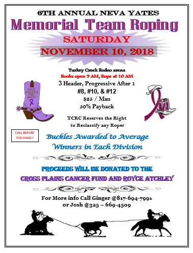 Breckenridge Tx-Memorial Roping @ Turkey Creek Rodeo Club | Cross Plains | Texas | United States
