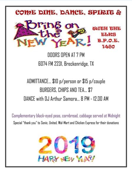 Breckenridge Tx- New Years Eve at the Elks Lodge @ Breckenridge Elks Lodge