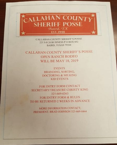 Breckenridge Tx-Callahan Co Ranch Rodeo @ Callahan Co Sheriff Posse